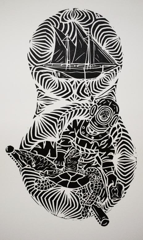 """""""Torres Strait Islander Pearling"""" a print by artist Samuel Savage"""